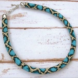 Japanese Seed Beads Blur Snake Python Necklace NEW